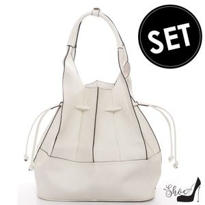 Geometric Fold Drawstring Handbag & Pouch Set